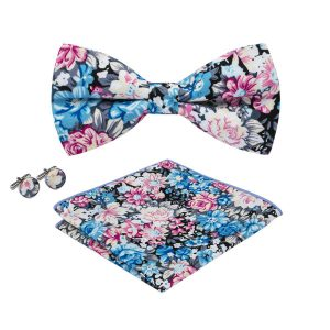 Blue Floral Bow Tie Set