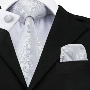 Silver Wedding Tie Set